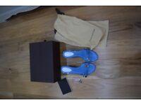 Louis Vuitton Blue Kitten Heel Sandals Size 37