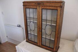 Vintage book case, Art Deco, bullseye leaded glass, refurbished.
