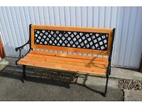 garden bench with cast iron ends and back with wooden seat black with clear varnished wood