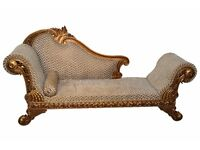 DESIGNER HAND CARVED LUXURY LARGE FRENCH STYLE ORNATE LOUNGE CHAISE