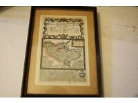A small framed antique map of kent
