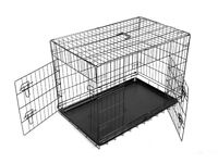 """FoxHunter 48"""" 48 Inch Dog Crate Metal Folding With Two Door and Tray XX-Large Black"""