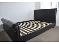 Dark brown faux leather double bed frame
