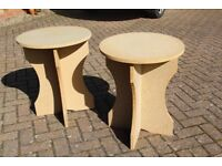 Pair of plain chipboard bedside, or occasional tables