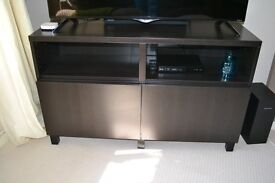 TV Cabinet with 2 Door Cupboard and x2 extra Shelves in Black/Dark Brown, Almost New