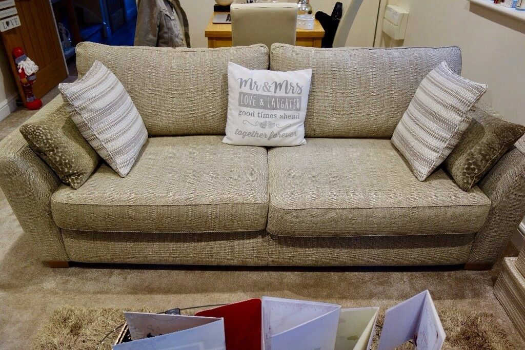 Dfs Sophia 3 Piece Sofa Suite In Stone Immaculate As New Condition