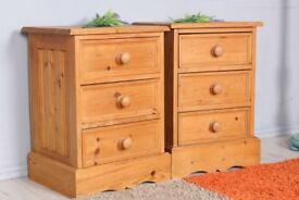 DELIVERY OPTIONS - PAIR OF RUSTIC SOLID PINE BEDSIDE TABLES 3 DRAWERS