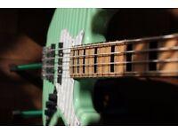 J & D Bass Guitar Vintage Series, sea foam green