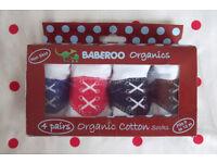 NEW 4 pairs Baberoo boys Oxford shoe Organics cotton socks. 0-12 mths. In gift box. £5 ovno.
