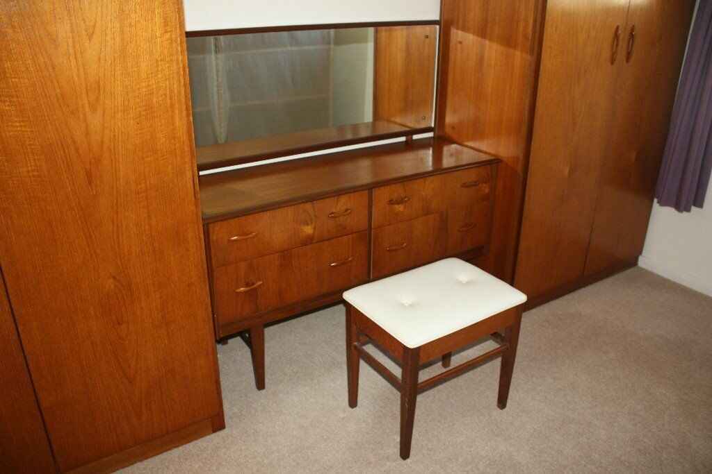 Retro / 1960s Teak / Wooden Bedroom Set – 2 Double Wardrobes ...