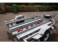 PAXTON 3 MOTORBIKE TRAILER COMPLETE WITH RAMP AND SPARE WHEEL