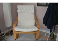2 x IKEA Poang chairs. Beach wood frames, white cushions. Like new, hardly used.