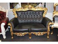Ex Display Venice Asian Wedding Sofa Chaise Black leather Baroque Carved Stage Set Suite French Chic