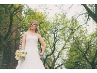 Beautiful Mark Lesley Dress + Long Cathedral Veil SIZE 14