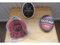 BEER PUMP BOTTLE CLIP ON LABELS-EVERARD TIGER;MACLEOD TODDY; WADWORTHS OLD TIMER