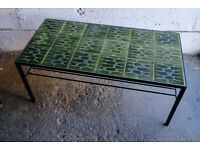 VINTAGE RETRO MID CENTURY TILED GREEN COFFEE TABLE WITH MAGAZINE RACK