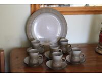 Purbeck Pottery Stoneware coffee set and platter 1970s
