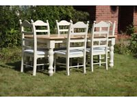 Fully refurbished 6ft Solid Oak Painted Farmhouse Dining Table and Chairs. Shabby Chic