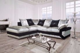 **BEST SELLING BRAND** BRAND NEW DINO CRUSHED VELVET CORNER SOFA AVAILABLE CORNER AND 3+2 SUITE