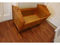 Vintage wooden Rocking Crib (for baby or collectible display)