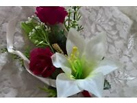 womens wedding corsage, burgundy and cream. matches posies' listed.