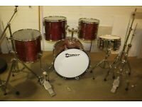 Vintage 1980s Premier APK Rosewood Lacquer 5 Piece Full Drum Kit 22in Bass Sabian Cymbals - £475 ono