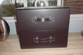 Next brown faux leather drawer chest perfect condition