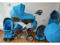 Stokke Xplory V4 pram pushchair travel system 3 in 1 - Urban Blue *will post*