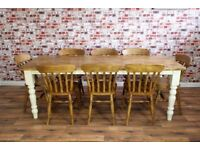 Rustic Farmhouse Reclaimed Pine Kitchen Dining Table Set