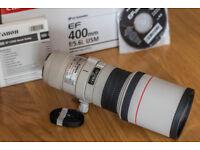 Canon EF 400mm f5.6L USM Lens. Excellent condition