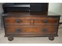 TV table with inside tray, solid wood, very good condition