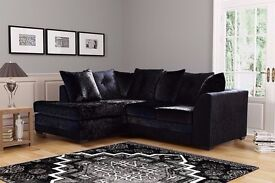 Brand New Dylan crushed velvet sofa in Silver ,Black color SAME DAY CASH ON DELIVERY
