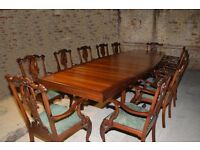 13.5' CHIPPENDALE REGENCY ART DECO CURVED DINING BOARDROOM TABLE SUITE 12 CHAIRS
