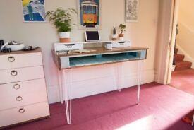DIY refurbished wood desk - white, wood and blue