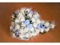 Bridal bouquet & 3 button hole corsages - white roses and light blue sweet pea