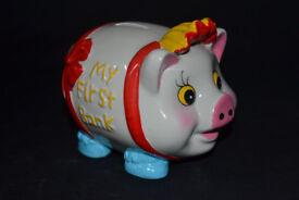 kids piggy bank, my first piggy bank, money box