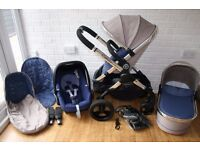 iCandy Peach 3 pram travel system 3 in 1 Azure (grey / blue) ***can post****