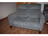Two seats sofa with electric / power recliners grey plain fabric and FREE DELIVERY only £250