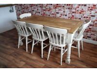 Kitchen Dining Table Set Rustic Farmhouse Extending Dining Oak Style - Brand New - Seats Up To 12