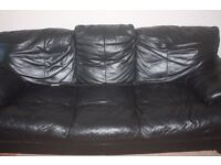Comfortable Black Leather 3 Seater Sofa £30 ONLY