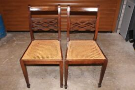 Dining Chairs - Pair of Antique Mahogany Chairs with Woven Cane Seats