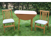 Beautiful folding SPACE SAVING drop leaf wooden table and 2 chairs, compact dining set;nr Swansea Vy