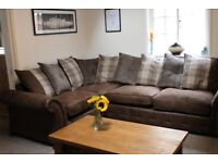 DFS Woodland Right Hand Facing 3 Seater Pillow Back Corner Sofa and Storage Footstool