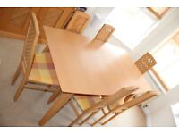 Beech Dining Table and 6 chairs.