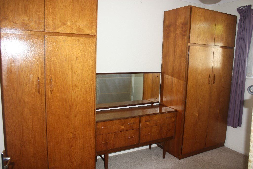 Retro / 1960s Teak / Wooden Bedroom Set – 2 Double Wardrobes, Headboard, Dressing Table and Stool