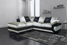 Black and Silver Mix -- Up to 20% Off -- New Dino Diamond Crush Velvet Corner or 3 and 2 seater sofa