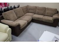 CORNER, L SHAPE, SOFA, JUMBO CORD, COFFEEE BROWN! DELIVERY AVAILABLE!