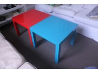 2 Small Tables Ikea Lack - Red and Turquoise
