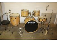 "Yamaha Stage Custom Advantage Nouveau Natural 5 Piece Drum Kit 22"" (Bass) + Cymbals + Stands + Stool"