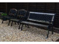Cast iron garden seat set